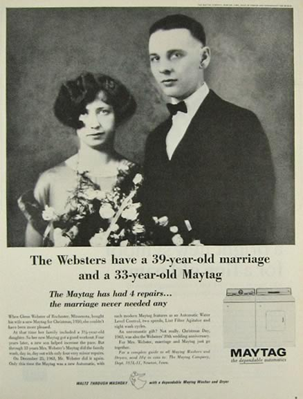 1964 Maytag Washer Ad ~ The Websters, Rochester, MN