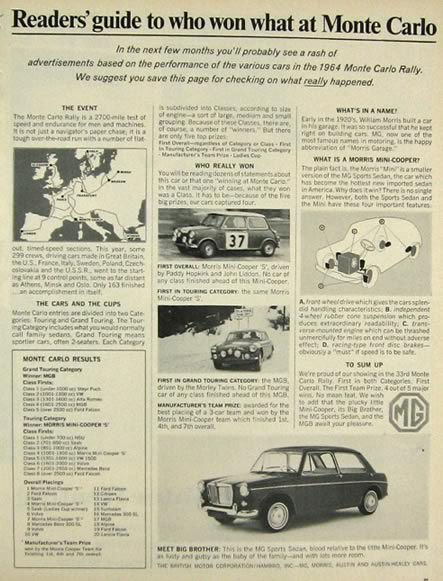 1964 MG & Mini Cooper Ad ~ Results from Monte Carlo