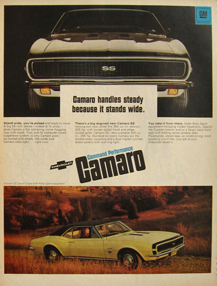 1967 Chevy Camaro SS Sport Coupe Ad ~ Handles Steady