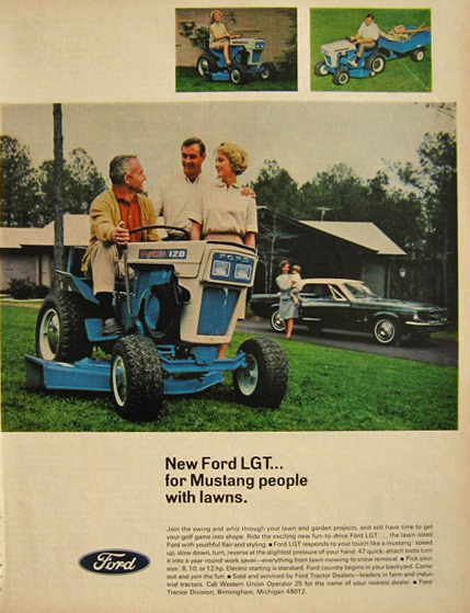 1967 Ford LGT Tractor Ad ~ For Mustang People with Lawns