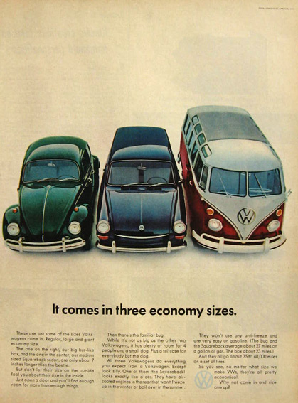 1967 VW Volkswagen Bug, Bus, Sedan Ad ~ 3 Economy Sizes