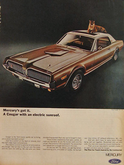1968 Mercury Cougar Ad ~ Electric Sunroof