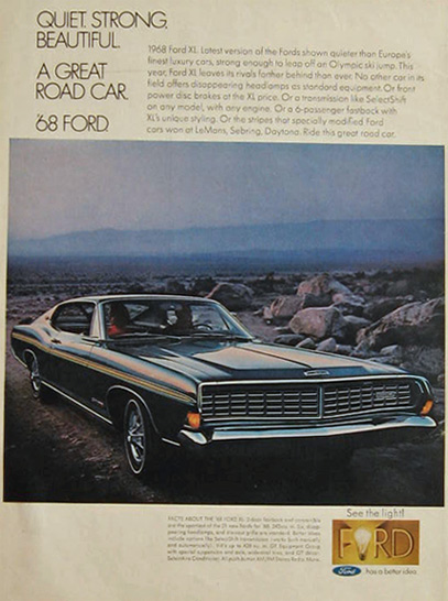 1968 Vintage Ford XL Car Ad