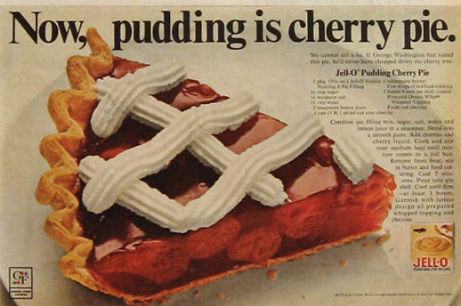1968 Jello Pudding Ad ~ Cherry Pie Recipe
