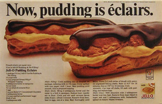 1968 Jello Pudding Ad ~ Eclairs Recipe