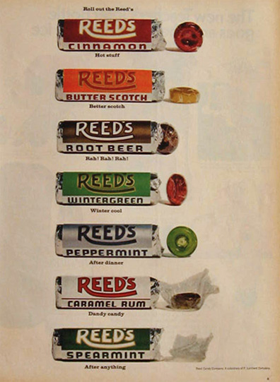 1968 Reeds Candy Ad