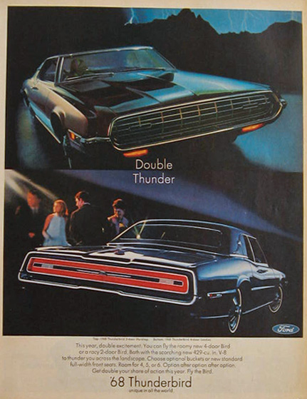 1968 Ford Thunderbird Ad Double Thunder Vintage Ford Ads