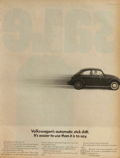 1968 VW Volkswagen Beetle Ad ~ Automatic Stick Shift