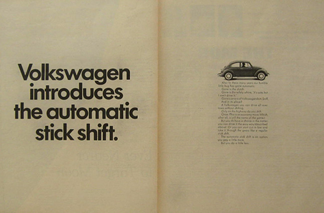1968 VW Volkswagen Beetle Ad ~ Introducing Automatic Stick Shift