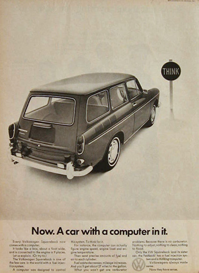 1968 VW Volkswagen Squareback Ad ~ Car with Computer