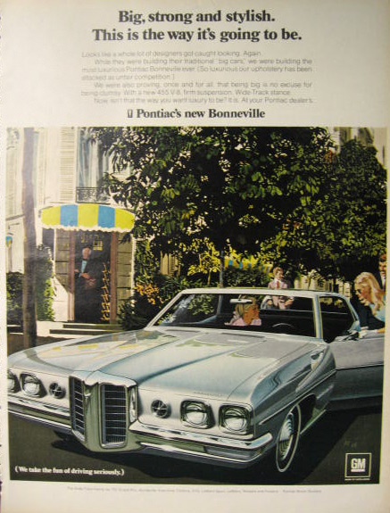 1969 Pontiac Bonneville Ad ~ VK/AF Art ~ Big, Strong and Stylish