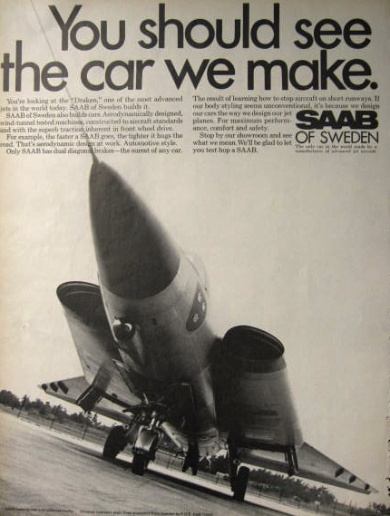 1969 Saab of Sweden Ad ~ Draken Fighter Aircraft