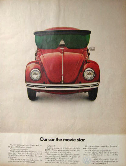 1969 Volkswagen Beetle Ad ~ Our Car the Movie Star