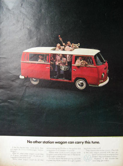 1969 Volkswagen VW Bus Ad ~ No Other Wagon Can Carry This Tune