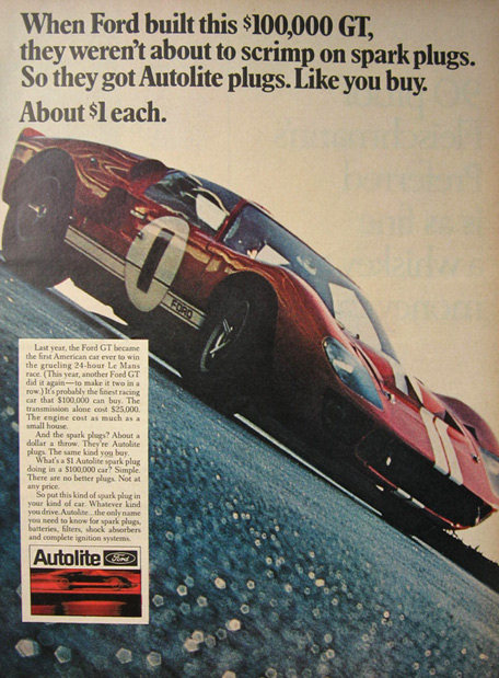 1967 Autolite Spark Plugs Ad ~ Ford GT