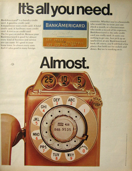 Bank Americard Charge Card Ad Vintage Payphone Vintage Ads Misc