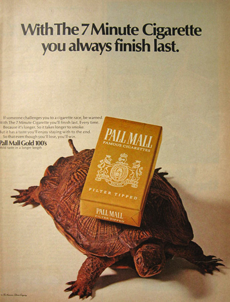 1968 Pall Mall Cigarette Ad ~ Turtle