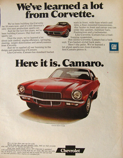 1971 Chevy Camaro Ad ~ Learned A Lot From Corvette