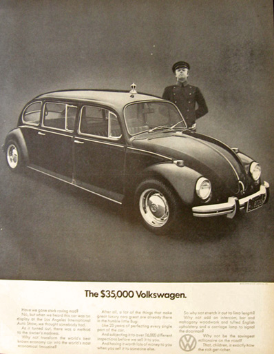 1971 VW Volkswagen Beetle Limo Ad ~ The $35,000 Volkswagen