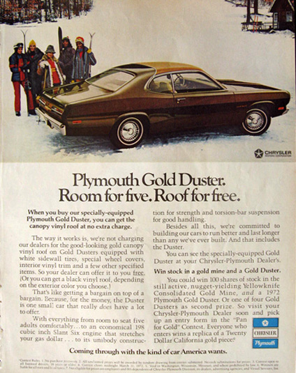 1972 plymouth gold duster ad room for five vintage car ads other. Black Bedroom Furniture Sets. Home Design Ideas