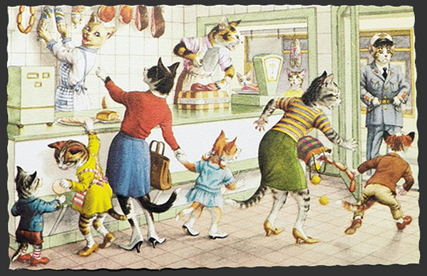 Alfred Mainzer Dressed Cats Postcard ~ Cats At The Butcher Shop
