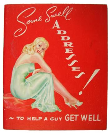 Vintage Pin-Up Get Well Card/Fake Address Book