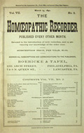 Homeopathic Recorder, March 15, 1892  ~ Rare Original Issue