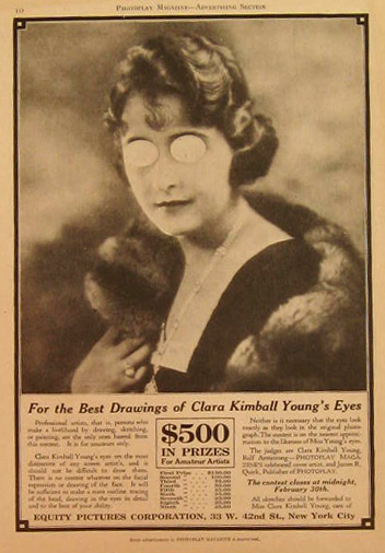 Clara Kimball Young Creepy 1920's Contest Ad
