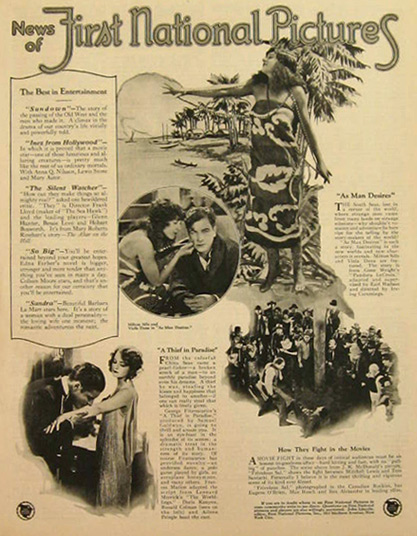 1925 First National Pictures Movie News Ad