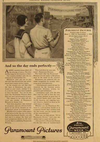 1921 Paramount Pictures Ad ~ Tennis Couple