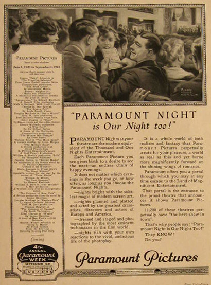 1921 Paramount Pictures Ad ~ Richard Culter Art