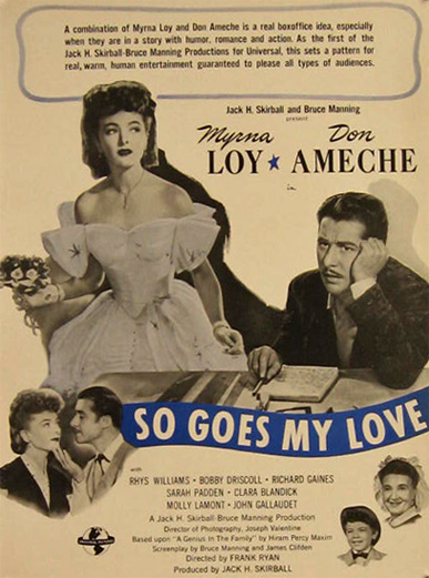 So Goes My Love Myrna Loy Don Ameche 1946 Movie Ad