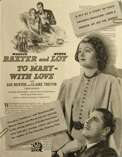 To Mary With Love Myrna Loy 1936 Vintage Movie Ad