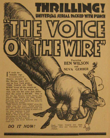 The Voice on the Wire Serial 1917 Silent Movie Ad