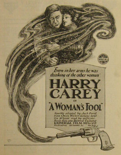 A Woman's Fool Harry Carey 1918 Movie Ad ~ Lionel Reiss Art