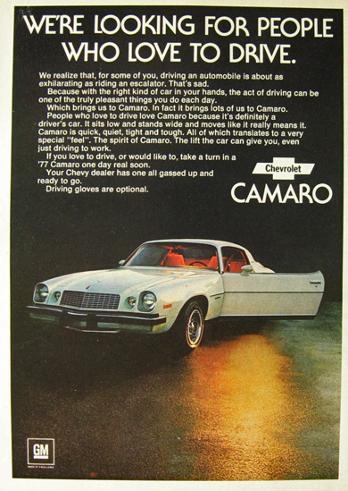 1976 Vintage Chevy Camaro Ad ~ For People Who Love to Drive