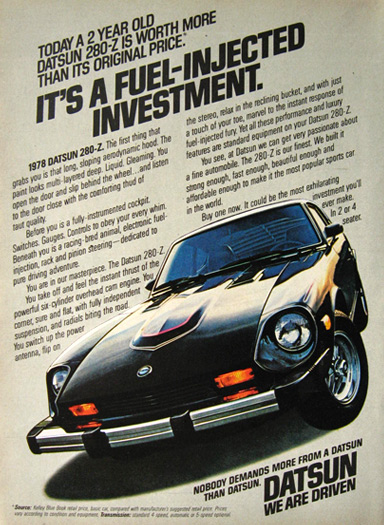 1978 Vintage Datsun 280-Z Car Ad ~ Fuel Injected Investment