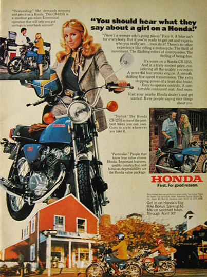 1976 Vintage Honda CB 125S Motorcycle Ad A Girl On