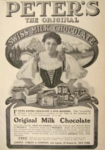 1904 Peters Chocolate Ad Swiss Maiden Vintage Packaging