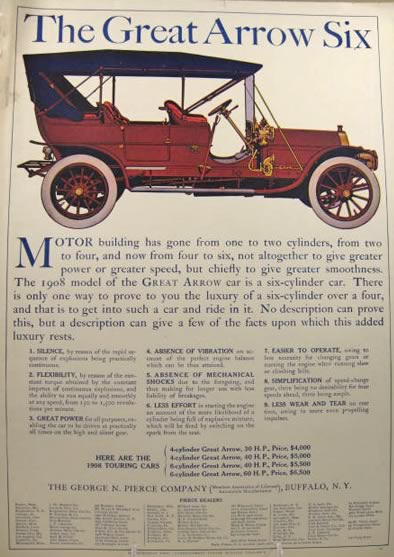 1908 Pierce Arrow Six Ad