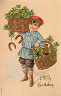 Boy Delivers Champagne, Horseshoes, Clovers Birthday Postcard