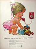 1961 Bell Telephone Ad ~ Baby with Suitcase