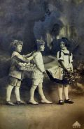 Easter Children w/ Basket of Eggs Real Photo Postcard