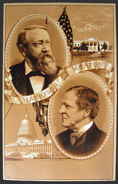 1888 Benjamin Harrison & Levi Morton Large Campaign Advertising Card