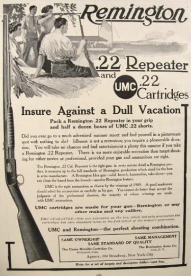 1910's Remington Rifle Ad ~ .22 Repeater