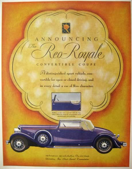 1931 Reo Royale Convertible Coupe Car Ad ~ Stunning