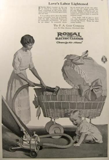 1920 Royal Electric Vacuum Cleaner Ad Wicker Carriage