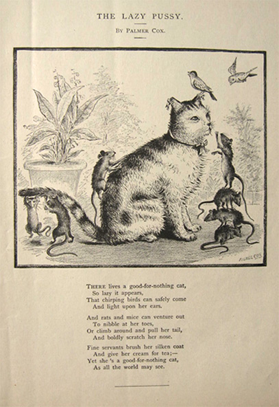 1880 Palmer Cox ~ The Lazy Pussy Antique Print with Poem