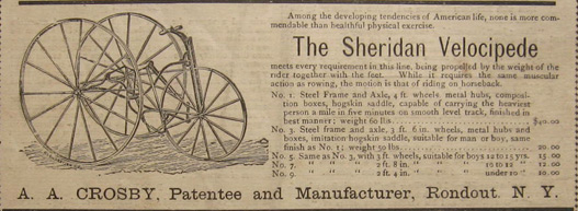 1879 Sheridan Velocipede Antique Bicycle Ad ~ Rondout, NY
