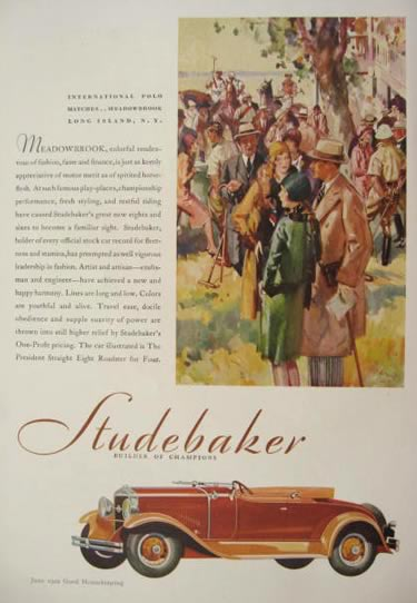 1929 Studebaker Ad ~ Polo Matches ~ Meadowbrook Long Island
